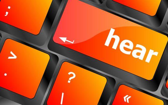 hear written in computer keyboard key button
