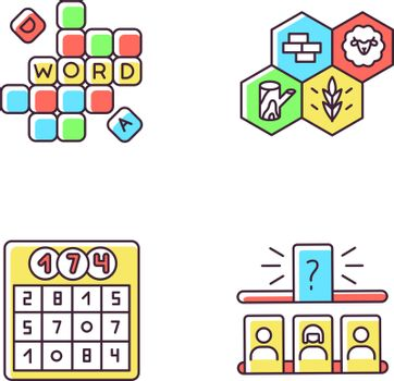 Recreational games RGB color icons set