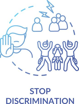 Stop discrimination blue concept icon