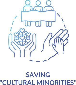 Saving cultural minorities blue concept icon