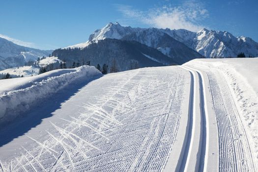 cross country skiing tracks in winter