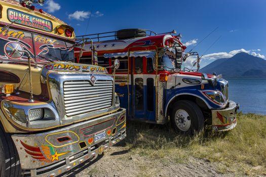 chicken bus at lake atitlan in guatemala