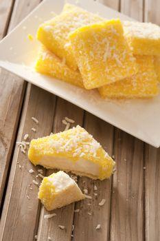 Tasty lemon lamingtons in close up view