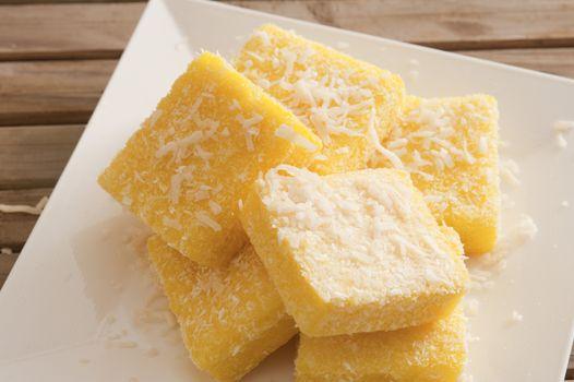 Plate with tasty lemon lamingtons