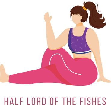 Half lord of fishes flat vector illustration. Ardha Matsyendrasana. Caucausian woman performing yoga posture in pink and purple sportswear. Workout. Isolated cartoon character on white background