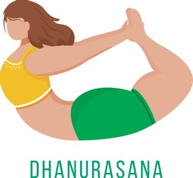 Dhanurasana flat vector illustration. Bow pose. Caucausian woman performing yoga posture in green and yellow sportswear. Workout. Physical exercise. Isolated cartoon character on white background