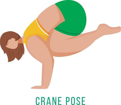 Crane pose flat vector illustration. Bakasana. Caucausian woman performing yoga posture in green and yellow sportswear. Workout. Physical exercise. Isolated cartoon character on white background