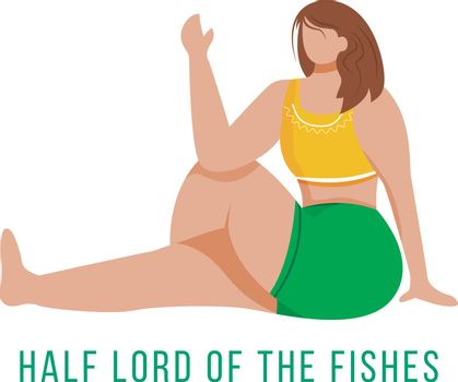 Half lord of fishes flat vector illustration. Ardha Matsyendrasana. Caucausian woman performing yoga posture in green and yellow sportswear. Workout. Isolated cartoon character on white background