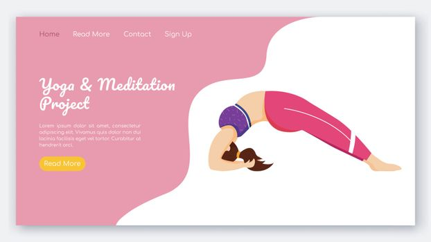 Yoga and meditation project landing page vector template. Sport exercises. Bodypositive website interface idea with flat illustrations. Homepage layout, web banner, webpage cartoon concept
