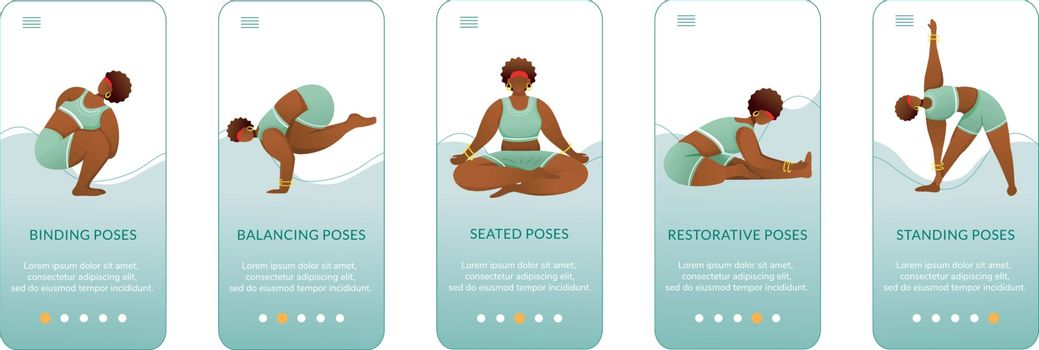 Yoga standing and seated poses onboarding mobile app screen vector template. Bodypositive female. Walkthrough website steps with flat characters. UX, UI, GUI smartphone cartoon interface concept