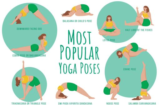 Popular yoga poses green vector infographic template. Body positive females. Poster, booklet page concept design with flat illustrations. Advertising flyer, leaflet, banner with workflow layout idea