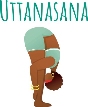 Uttanasana social media post mockup. Standing forward bend. Woman doing yoga. Web banner design template. Social media booster, content layout. Poster, printable card with flat illustrations
