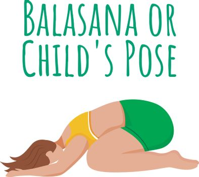 Balasana social media post mockup. Child's pose. Caucausian woman doing yoga posture. Web banner design template. Social media booster, content layout. Poster, printable card with flat illustrations