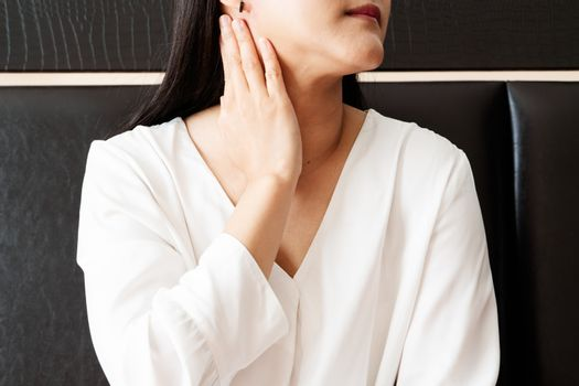 woman sore neck and  tonsillitis, healthcare and medicine recove