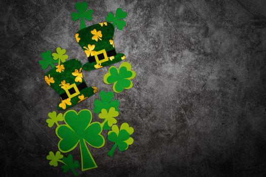 St Patricks day, festive leprechaun hat and green Shamrocks