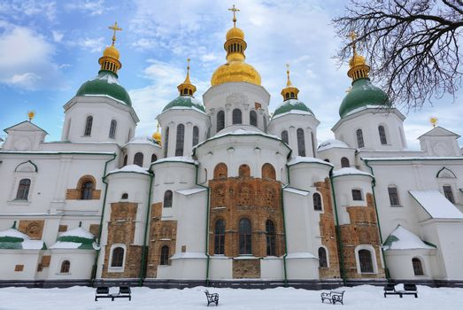 The famous St. Sophia Cathedral in Kyiv in the winter against the blue cloudy sky