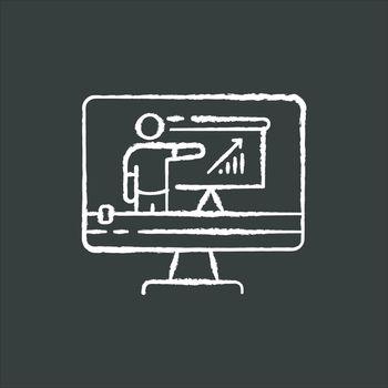 Tutorial video chalk white icon on black background