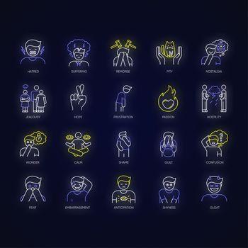 Human feelings neon light icons set