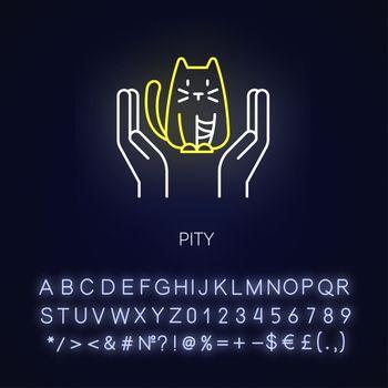 Pity neon light icon