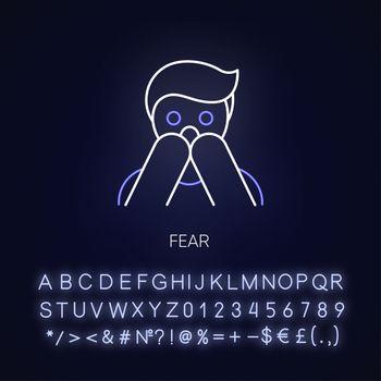 Fear neon light icon