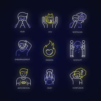 Emotion neon light icons set