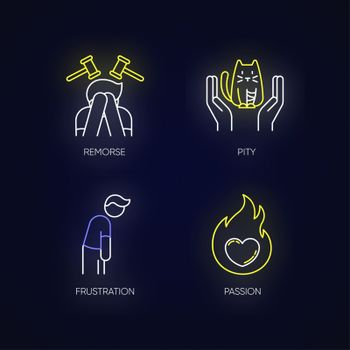 Human emotion neon light icons set