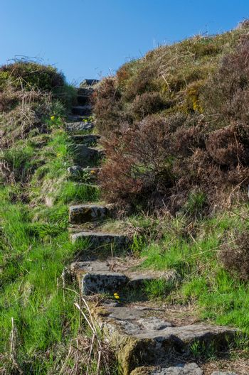 Steps leading up the hillside in the beautiful Peak District