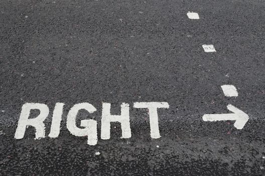 Right painted on a road surface