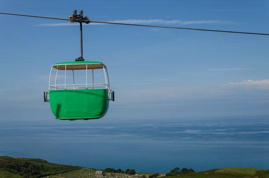 A cable car gondola