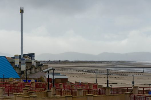 The jumbled view of Rhyl sea front