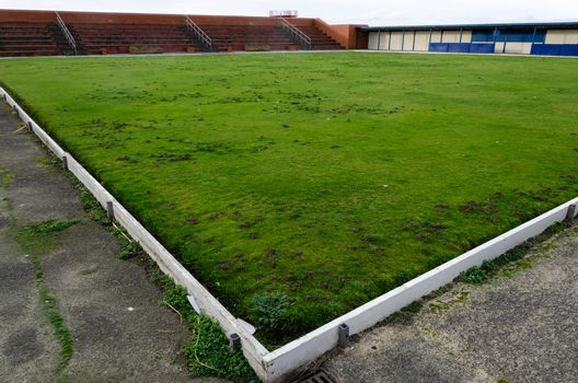 A bowling green in very poor condition in the seaside resort of Rhyl, North Wales