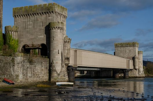 The wrought iron, tubular box railway bridge beside Conwy Castle