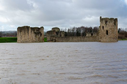 Flint Castle seen on the day of an unusually high spring tide.