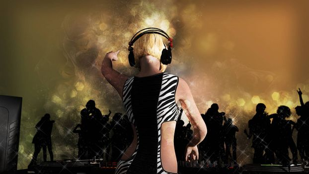 Young blonde woman dj playing music. DJ mixer on table. - 3D rendering