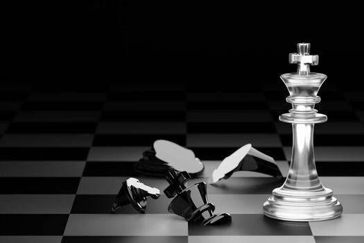 King of clear white chess has made checkmate king of black chess in dark black background. Concept of the strategic planning of leadership for victory in the competition of business games. 3D render.