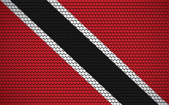 Abstract flag of Trinidad and Tobago made of circles. Trinidadian and Tobagonian flag designed with colored dots giving it a modern and futuristic abstract look.