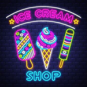 Ice cream Shop - Neon Sign Vector. Ice cream Shop - neon sign on brick wall background, design element, light banner, announcement neon signboard, night advensing. Vector Illustration.