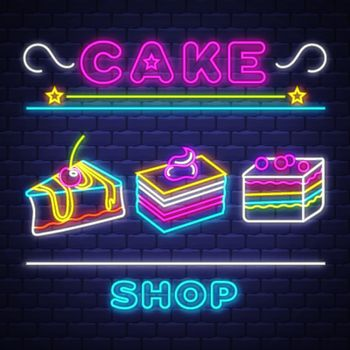 Cake Shop - Neon Sign Vector. Cake Shop - neon sign on brick wall background, design element, light banner, announcement neon signboard, night advensing. Vector Illustration.