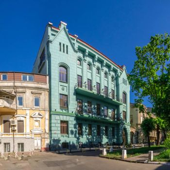 Odessa, Ukraine - 03.05. 2020. Old historic house in Odessa, Ukraine, on a sunny spring day