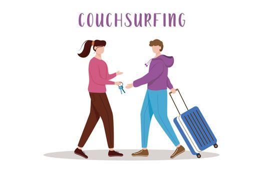 Couchsurfing flat vector illustration