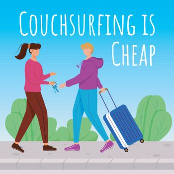 Couchsurfing is cheap social media post mockup