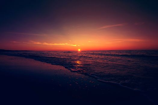 Sunset over sea. Nature fantasy marine landscape.