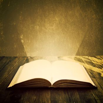 Open book. Education and wisdom concept. Grunge.