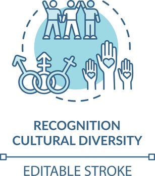 Cultural diversity recognition turquoise concept icon