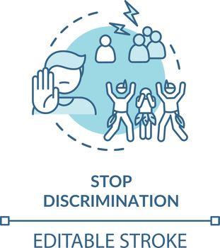 Stop discrimination turquoise concept icon