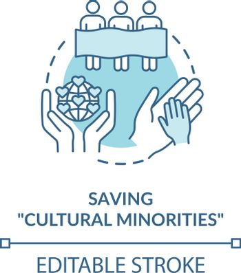 Saving cultural minorities turquoise concept icon