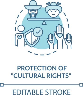 Protection of cultural rights turquoise concept icon