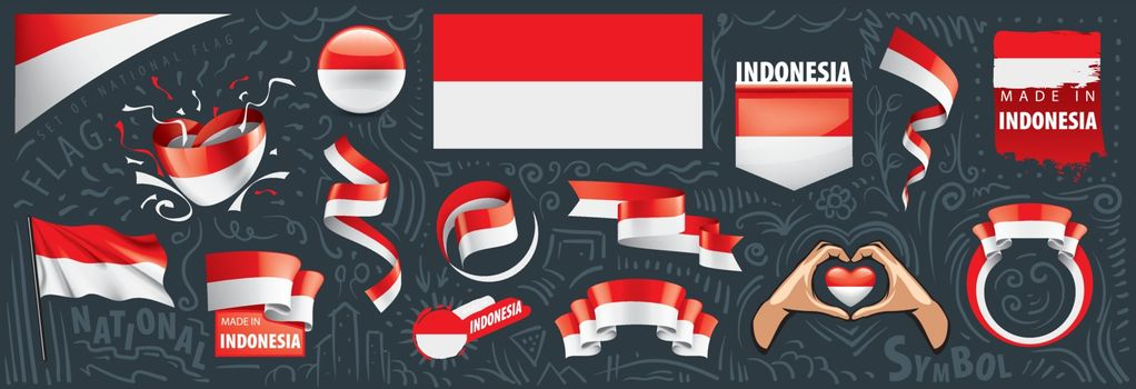 Vector set of the national flag of Indonesia in various creative designs.