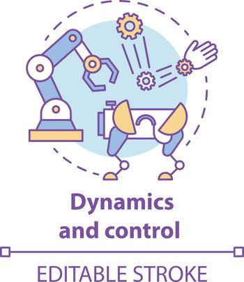 Dynamics and control concept icon. Robotics motion system idea thin line illustration. Information technologies and innovative programming. Vector isolated outline drawing. Editable stroke