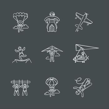 Air extreme sports chalk icons set. Skydiving, parachuting, hang gliding, wingsuiting. Aerobatics, highlining, paragliding. Giant swing, bungee jumping. Isolated vector chalkboard illustrations